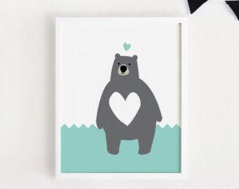 INSTANT DOWNLOAD Cute Bear Children room art by ARTsopoomc on Etsy
