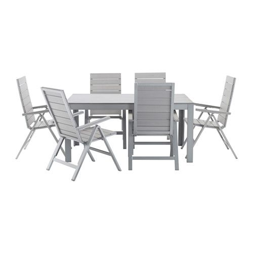 FALSTER Table + 6 reclining chairs, outdoor IKEA You can make your chair more comfortable and personal by adding a chair pad in a style you like.
