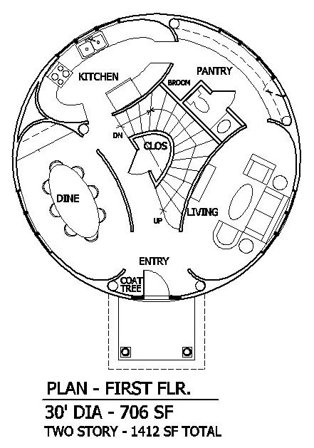 Round House Plans | Round House with Elliptical Rooms