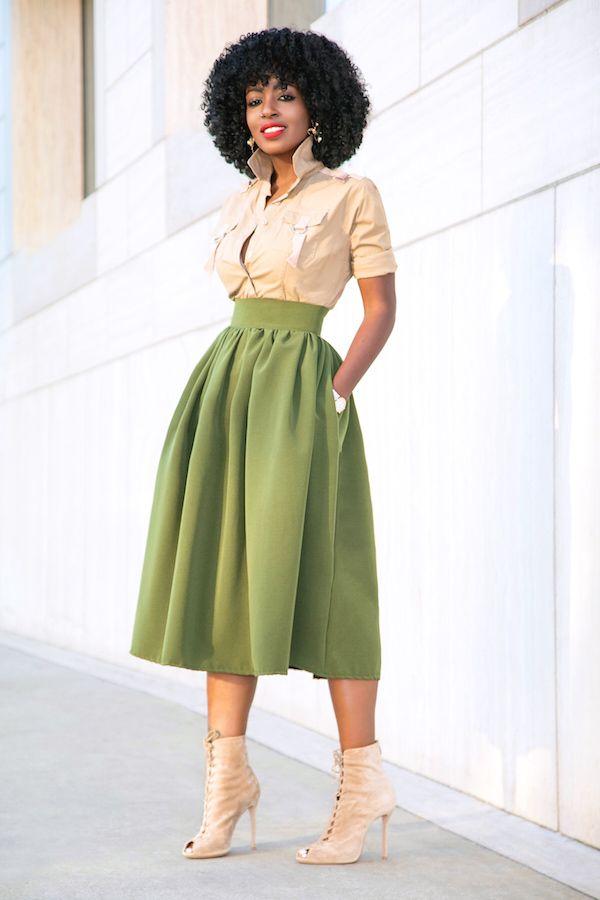 Style Pantry   Military Style Button Down + Full Midi Skirt