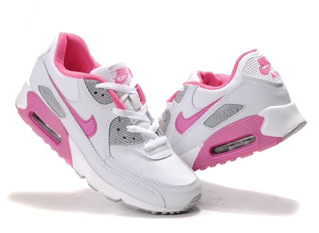 Hot Inexpensive Nike Air Max 90 Sports Shoes Gray White Pink