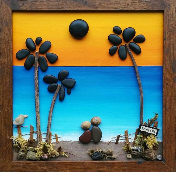 FREE SHIPPING This will be made to order: Couple on the beach with palm trees (any number of people can be added and/or pets). Set on a hand painted background. Materials used are pebbles, rocks, shells, dried moss, desert plants/twigs. The beautifully finished wood glass Shadow box