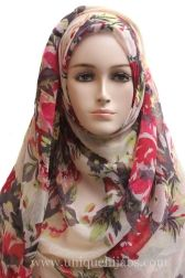 Light Hijab Maxi Fading Floral-Beige Red
