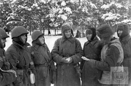 Latvian soldiers in the Red Army at the Battle of Moscow, 1941.