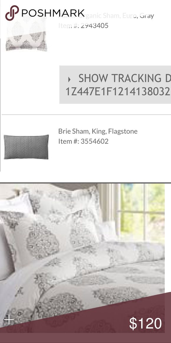 Pottery Barn Asher organic Duvet cover and shams Pottery Barn Asher duvet cover King sized with two euro shams.   Also included Brie king size sham Flagstone (dark grey).  This set was only used for a couple months then I changed my mind.  Very pretty set.   Like new condition Other