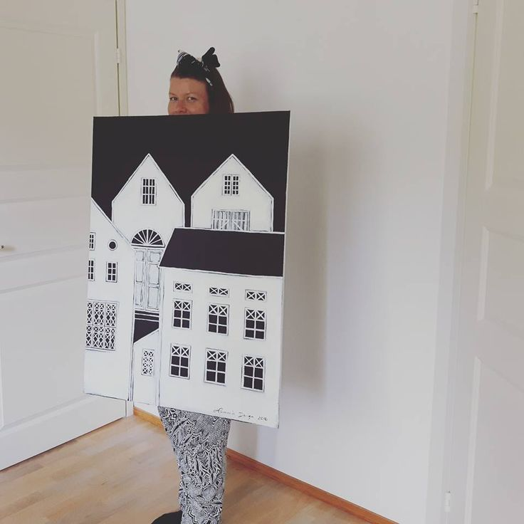 Acrylic painting by Hammi´s Design.  Houses, oldhouses, blackandwhite.