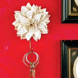 A paper flower makes a stylish key holder.