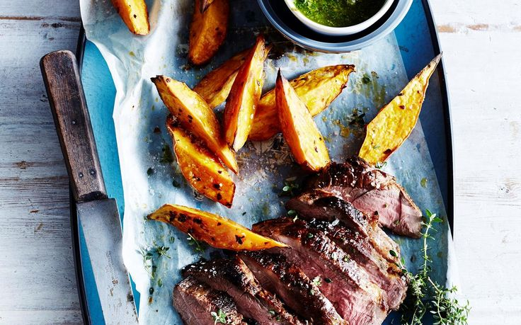 Barbecued lamb leg with lemon thyme salsa verde recipe - By Australian Women's Weekly, Deliciously tender lamb garnished with a fresh and zesty lemon thyme salsa verde - does it get much better? Serve up with homemade thick-cut kumara wedges for an even bigger flavour kick!
