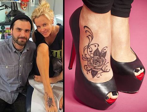 Jenny McCarthy foot tattoo--like placement, but not actual tat