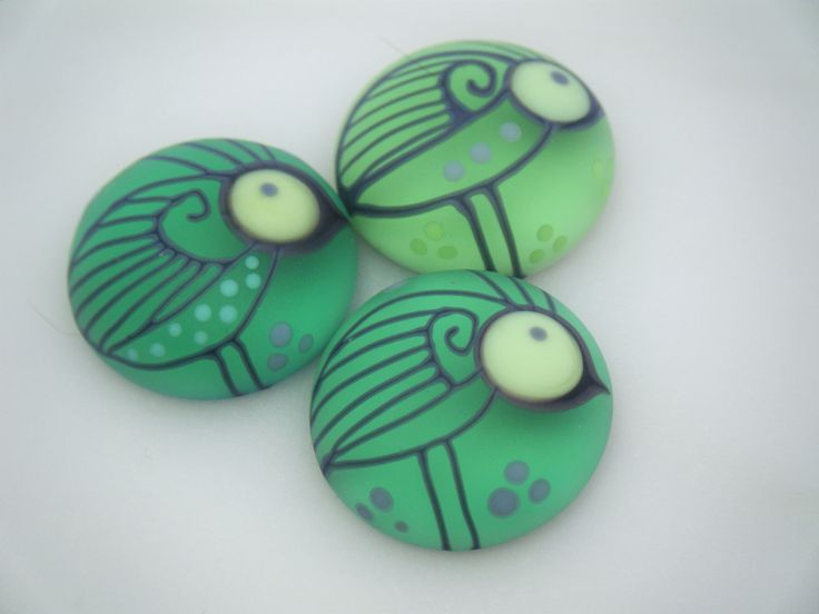 Moogin Beads - Bird patterned lampwork glass CABOCHONS - 20mm - SRA by mooginmindy on Etsy