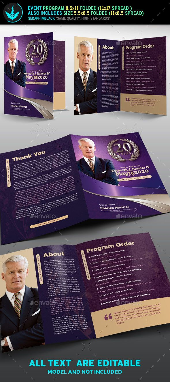 lavender pastors church anniversary program template informational brochures