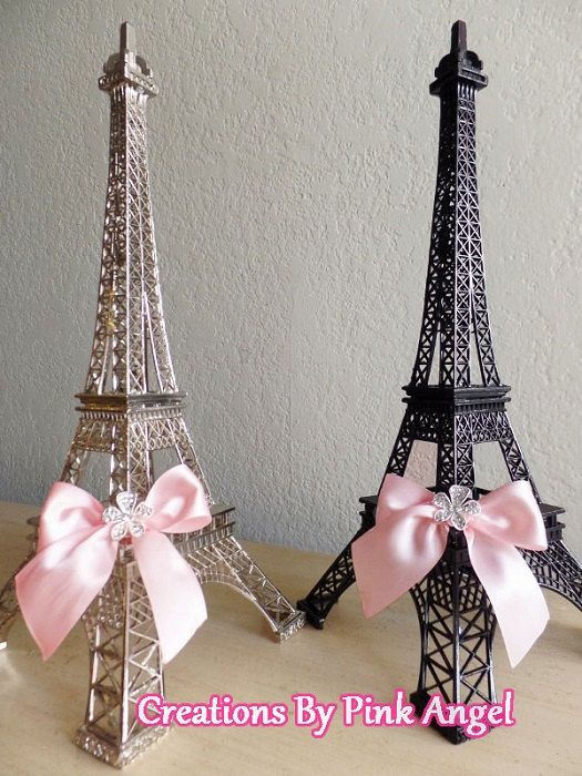 This listing is for 1 Metal Eiffel Tower Centerpiece plain or decorated as shown, you choose. Great for your Paris Wedding, Bridal Shower,