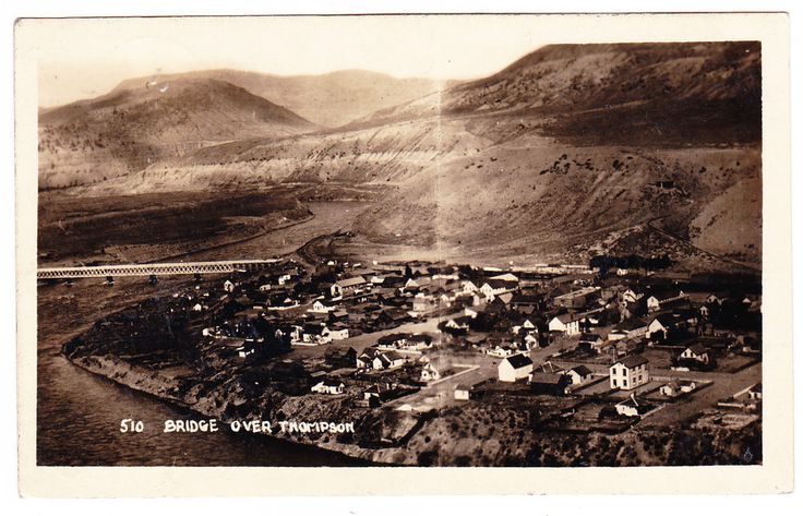 BC – ASHCROFT, Aerial of Town and Bridge Across the Thompson River c.1911 RPPC #ExploreGoldCountry