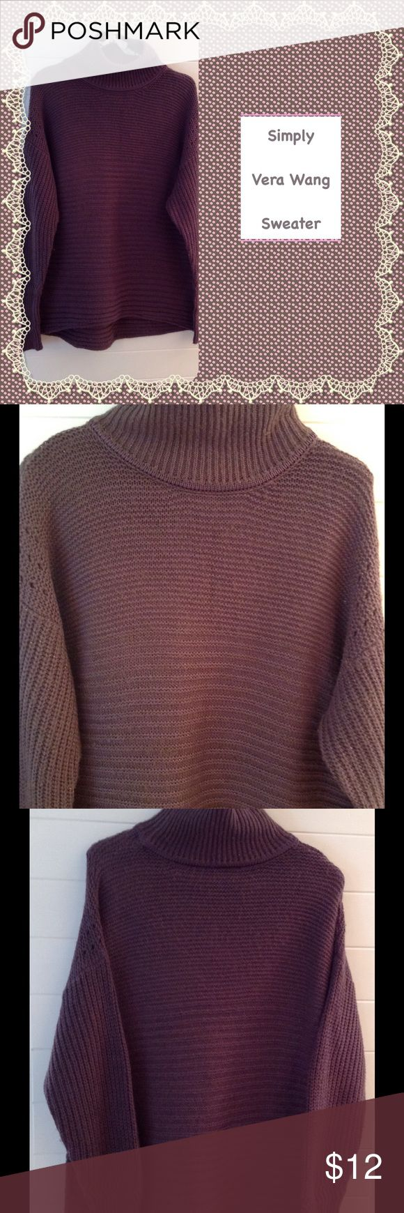"""Simply Vera Wang Relaxed Turtleneck Sweater Simply Vera Wang Sweater.  Relaxed turtleneck.  Nice texture/ribbing.  Acrylic/Cotton.  Length is 29"""".  Pretty plum color. Simply Vera Vera Wang Sweaters Cowl & Turtlenecks"""
