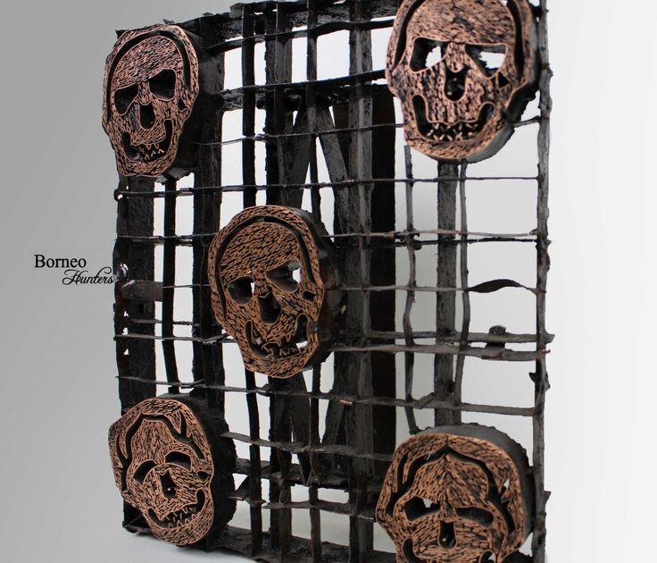 Textile Stamp Indonesian Copper Printing Block (Tjap) Chop Figurative Skull Design,Border Stamp Fabric Stempel(Tjap)Vintage Tool Shirt Skirt by BorneoHunters on Etsy