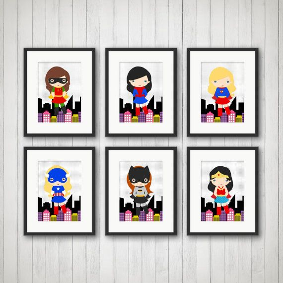 Superhero Prints Girls Room Decor Playroom Super Hero