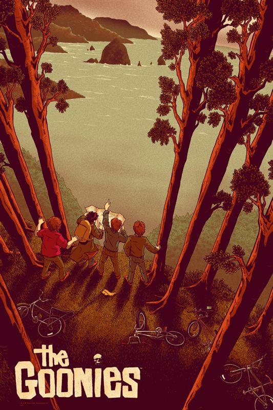 """goonies.jpg (533×800) I Goonies è un film d'avventura del 1985 di Richard Donner. La sceneggiatura di Chris Columbus fu ricavata dal soggetto di Steven Spielberg, che fu anche il produttore del film. Il nome del film deriva da un gruppo di quattro ragazzi, cresciuti in un quartiere di Astoria (Oregon) chiamato """"Goon Docks""""; proprio dal nome del loro quartiere, i ragazzi si fanno chiamare col nome di 'Goonies'."""