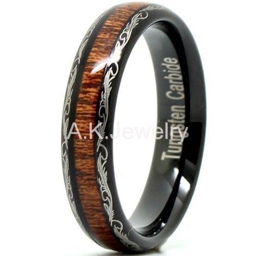 Titanium Koa Wood Rings Kauai