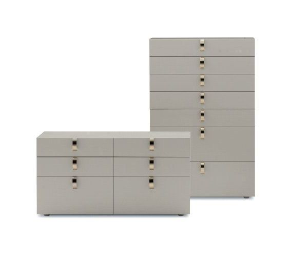 """Precious pieces of furniture created using the very best Italian traditions [""""Splendor"""" Tallboy and Chest by Flou. Design by Rodolfo Dordoni. Cream lacquer finish. Dipped Gold or Black Nickel handles available.] #livingroom #bedroom #HomeDecor #BedroomDecor #BedroomFurniture #Furniture #interiordesign #cassettiera #settimino"""