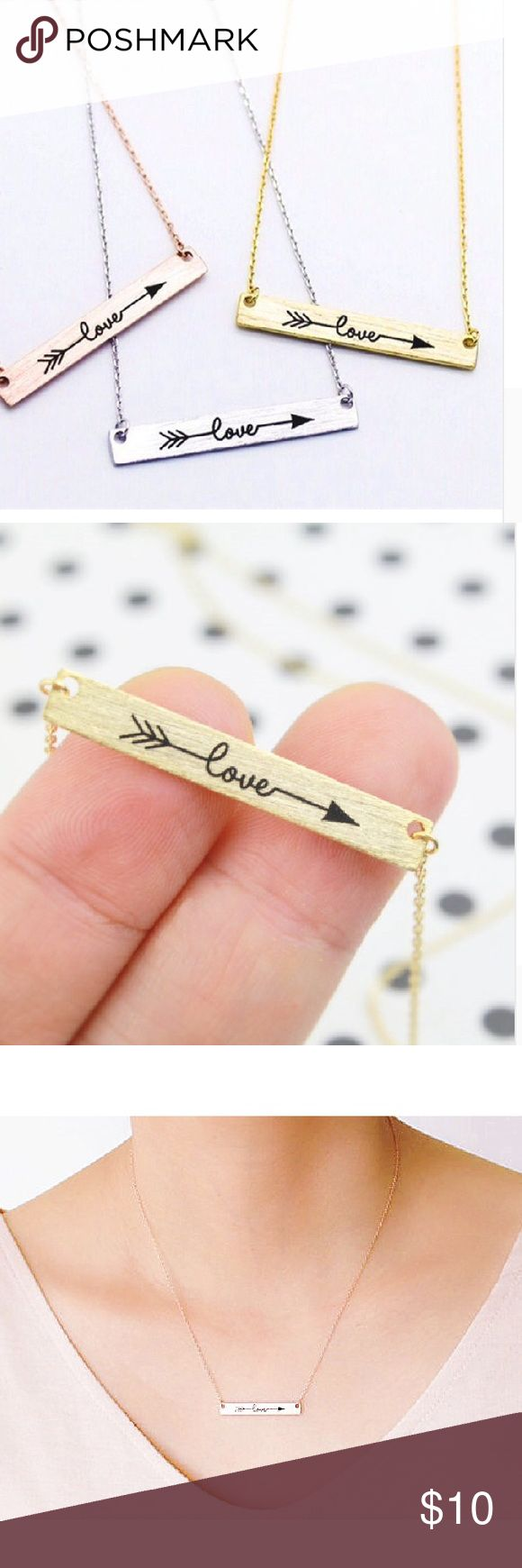 Love Arrow Necklace in Rose/Silver/Gold✨✨HP Pick✨✨ Rose gold plated , silver plated or 18k gold plated. Pendant is 30mm the length is 45cm. Please let me know if you want rose silver or gold before you buy. Brand new in package Jewelry Necklaces