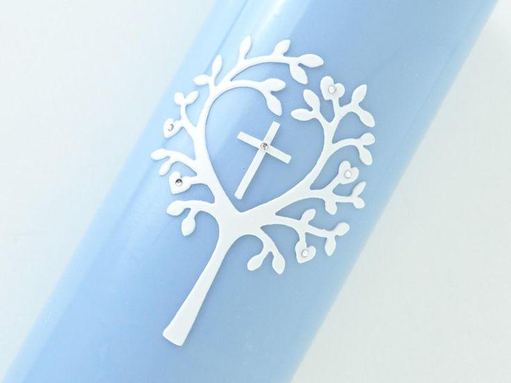 #Taufkerze #Taufe #Junge #hellblau #DaWanda #Kreuz #miocoloriKerzen #Baum