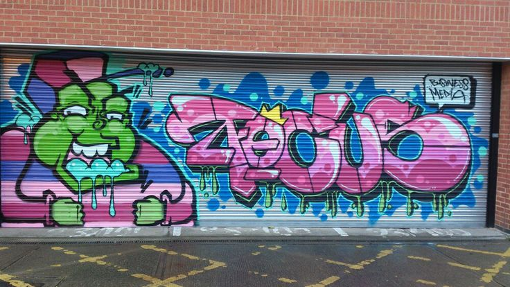 One of my favourite pictures of a roller shutter with graffiti added to blend in for an urban feel...