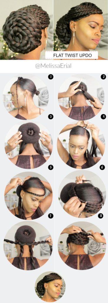 FLAT TWIST UPDO LOW BUN (BRIDAL HAIR) Melissa Erial - https://blackhairinformation.com/hairstyle-gallery/flat-twist-updo-low-bun-bridal-hair-melissa-erial/