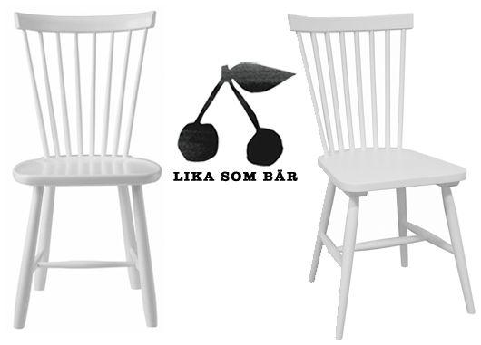 Orginal: Designklassikern Lilla Åland från Stolab, pris 2590 kr Lookalike: Pinnstol Gotland från Chili Möbler, pris 499 k