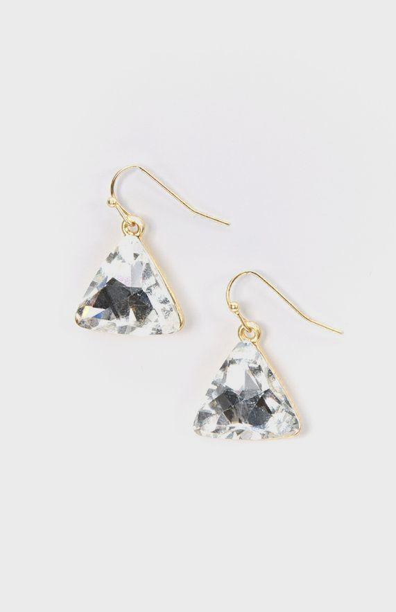 Crystal Triangle Drop Earrings