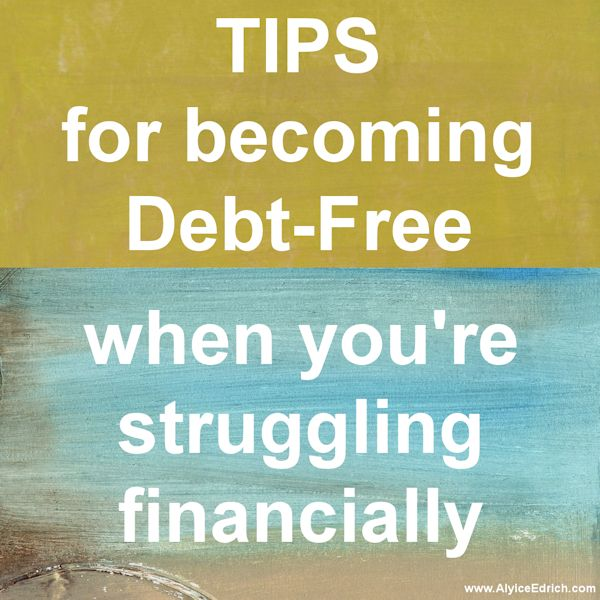 Debt Free Tips - Alyice Edrich shares tips about budgeting and getting out of debt... as she slowly dwindles down her own debt and strives towards living a debt-free lifestyle.  #DebtFree