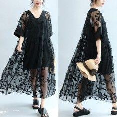 summer stylish black embroidery lace dresses plus size sundress short sleeve maxi dress