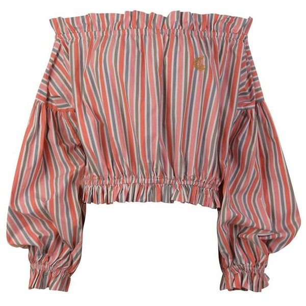 Vivienne Westwood Anglomania Striped Off The Shoulder Blouse ($390) ❤ liked on Polyvore featuring tops, blouses, momma, ruffle blouse, red top, off the shoulder ruffle blouse, striped blouse and ruffle top