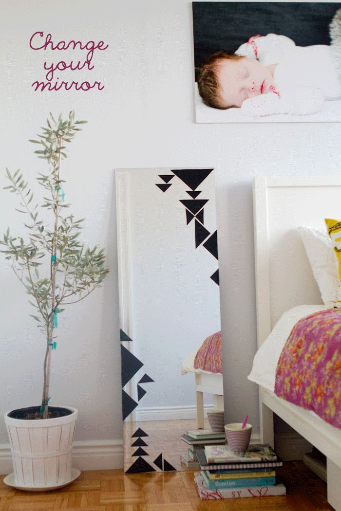 diy: Change your mirror with your mood or the season- would be perfect to cover cracks in mirrors