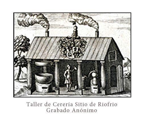 Grabado Anónimo del antigua taller de ceras en el sitio de Riofrío, el primer antecedente de la Real Fábrica de Cera - FdeC-