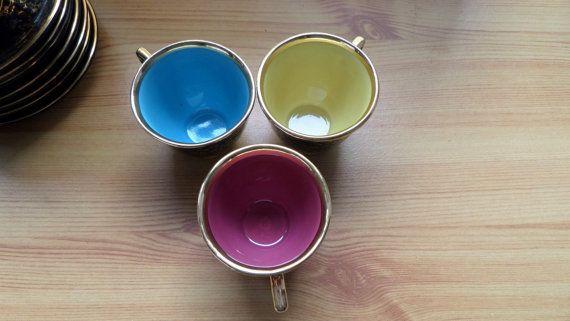 French espresso coffee Cups Three ceramic by VintageFindsFrance