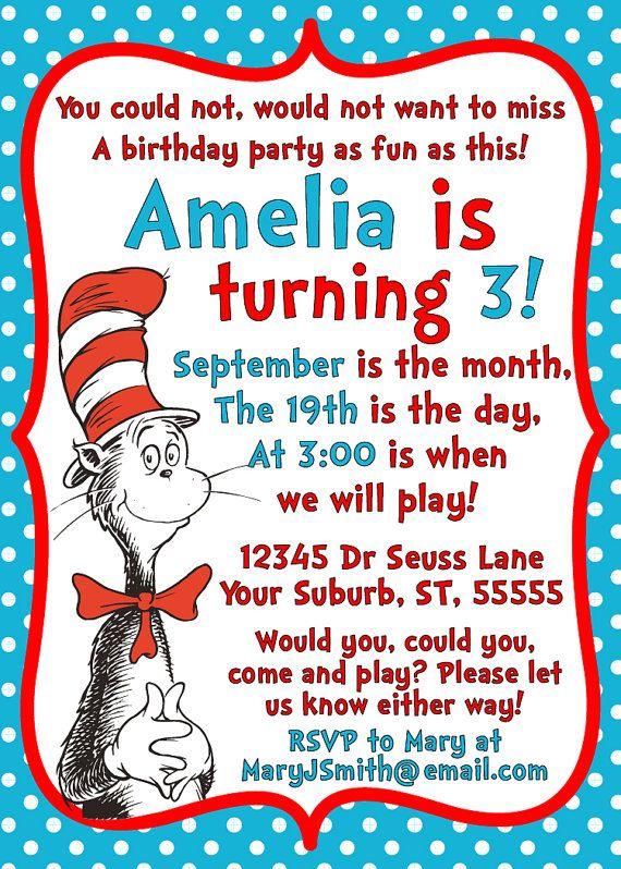 Dr Seuss Cat in the Hat Invitation - Printable - 5x7 Birthday Party Invitation. $8.00, via Etsy.
