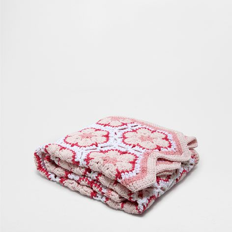 Manta croch losangos mantas cama zara home portugal - Zara home portugal ...