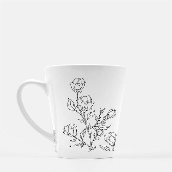 Grow Botanical Mug Floral Coffee Mug Latte Mug
