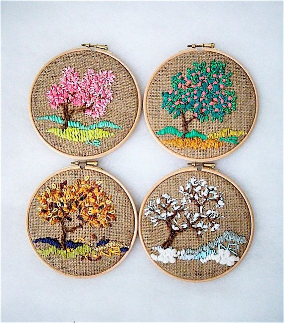 Four seasons Embroidery Hoop wall art Hoop Art Decorative Arts Handmade Embroidery hoop Fiber art Tapestry Textiles Modern Art Home decor