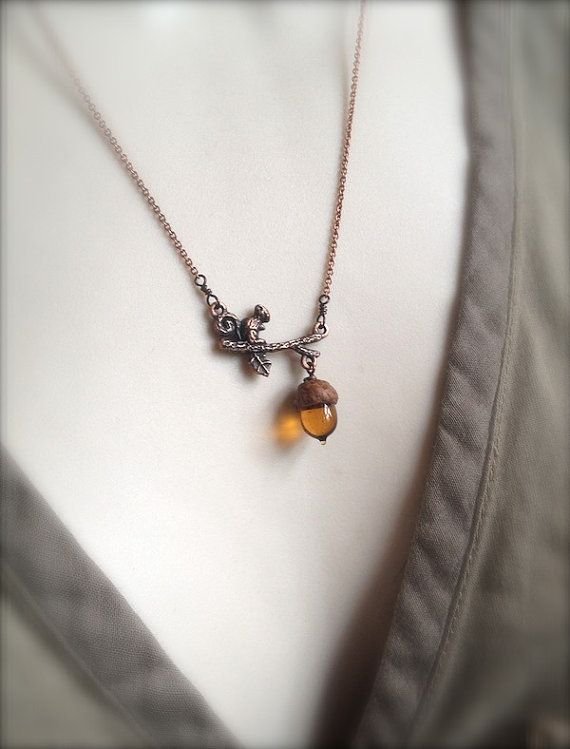 :: Crafty :: Bead :: Mini Glass Acorn in Topaz with Copper Squirrel Necklace by Bullseyebeads