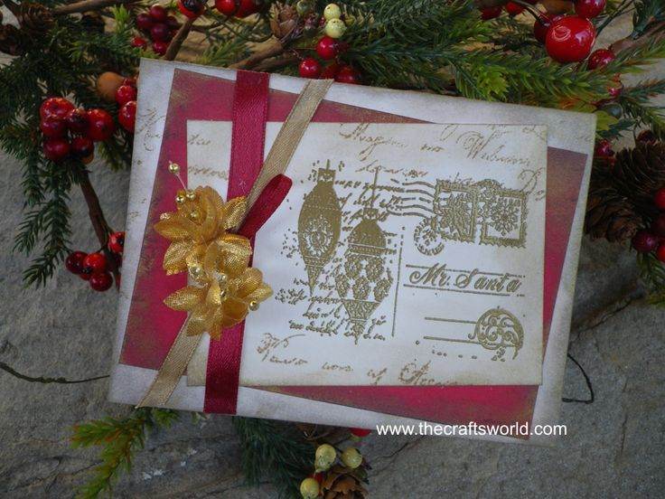 Christmas card using a stamp from Viva Decor's # 12 - Christmas Motifs.   (have)