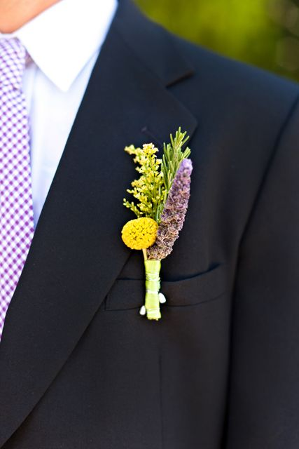 purple and yellow boutonniere