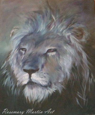Blue lion, Acrylic on canvas board. Wildlife Gallery - Art by Rosemary Martin