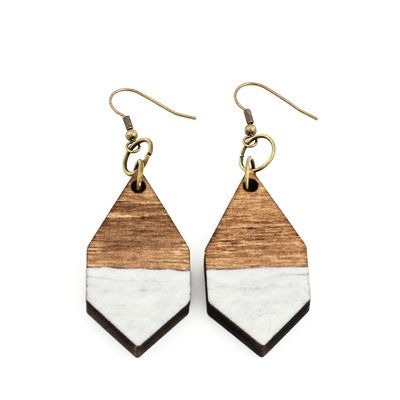DIAMANTE earrings in hammered white