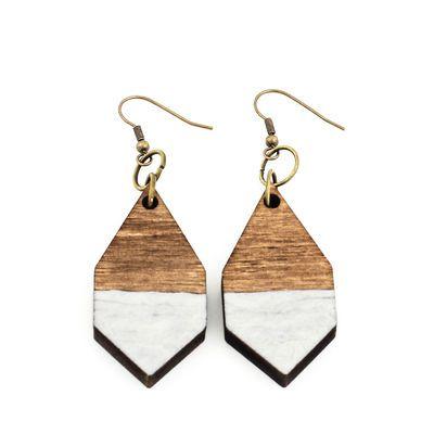 DIAMANTE earrings in hammered white