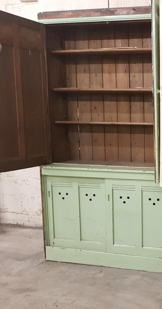 Antique Victorian Pine Painted Housekeepers Housemaids Pantry Cupboard