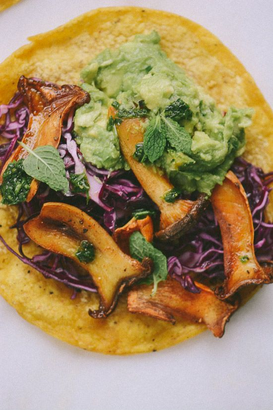 ROASTED KING OYSTER MUCHROOM, CHUNKY GUACAMOLE & LIME-KISSED COLESLAW TACO with MINT CHIMICHURRI VERDE [USA, Cal-Mex Cuisine, Modern] [scalingbackblog] [coleslaw, cole slaw, slaw]