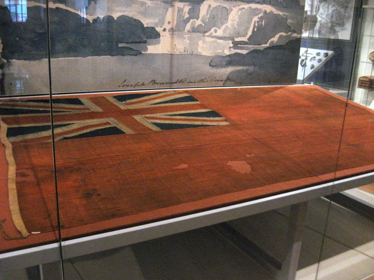 British Red Ensign from the War of 1812 at the Royal Ontario Museum, Toronto - This was given by the British to one of their First Nations allies, and was recently installed at the Royal Ontario Museum as part of a bicentennial commemorative exhibit on the War of 1812, which celebrated the alliance between British administrators and First Nations leaders - including Tecumseh.