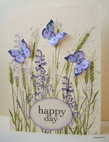 handmade greeting card ... three cute blue butterflies with wings lifted ... green meadow grasses with purple flowers ... luv the delicate look ...