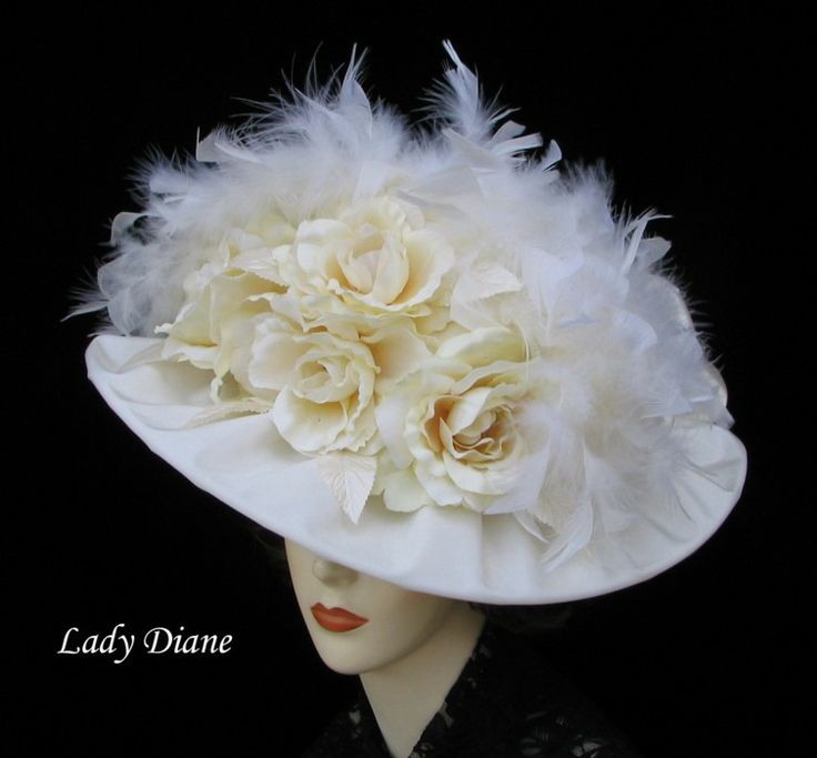 White Hat with Cream Cabbage Roses & white  Satin Bow in Back